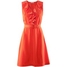 H&M Dress (£25) ❤ liked on Polyvore featuring dresses, h&m, vestidos, women, red dress, flutter-sleeve dress, transparent dress, knee high dresses and red flounce dress