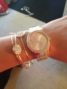 rose gold watch and accessories