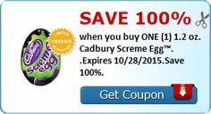 Save 100% when you buy ONE (1) 1.2 oz. Cadbury Screme Egg™. .Expires 10/28/2015.Save 100%.