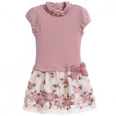 Armani Junior - Beige Satin Embossed Dress | CHILDRENSALON
