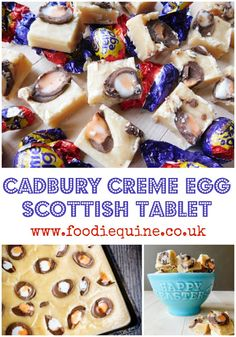Traditional Scottish Tablet Recipe combined with Creme Eggs for a seriously sweet Easter treat. Milk Toffee, Chocolate Toffee, Scottish Tablet Recipes, Baking Recipes, Dessert Recipes, Creme Egg, Home Baking, Food Themes, Easter Treats