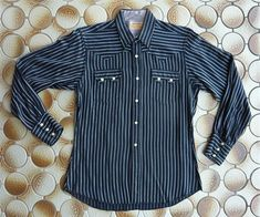Black w/ white pin stripes Small-Med Vintage Western Wear, Western Shirts, Westerns, 1950s, Stripes, Pocket, Long Sleeve, Sleeves, Mens Tops