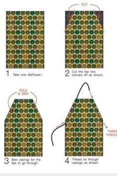Dishtowel apron - use cotton webbing for the adjustable straps
