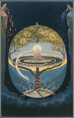 The cosmology of the Norse mythology has nine homeworlds unified by the world tree Yggdrasil. The Norse creation myth tells how everything came into existence in the gap between fire and ice and how the gods shaped the homeworld of humans. Creation Myth, Asatru, Arte Horror, Norse Mythology, Gods And Goddesses, Tree Of Life, Sacred Geometry, Magick, Tarot