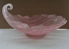 GENUINE Fratelli Toso MURANO Glass BOWL Vintage TEXTURAL Rugiadoso PINK Treasure