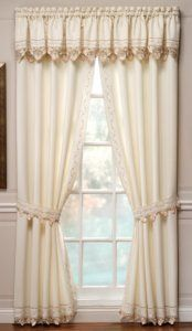 Regal Embroidered Curtains, Solid Background with Vine and Tiny Heart Embroidery