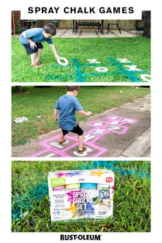First you spray, then they play. Make interactive lifesize games with Testors Spray Chalk that will Chalk Spray Paint, Spray Paint Cans, Kids Party Games, Diy Games, Town Drawing, Kids Lying, Fun Activities, Outdoor Activities, Backyard Birthday Parties