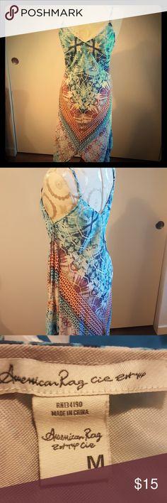 American Rag tye dye dress Flowing colorful tye dye sleeveless asymmetrical dress American Rag Dresses Asymmetrical