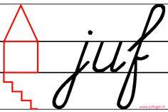 Het schrijfhuis is een manier om aan de leerling te laten zien hoe groot de letters geschreven mogen worden. De romp van de letter komt in de huiskamer, de lussen naar boven worden in de zolder geschreven en komen tot het dak, de lussen naar beneden gaat tot de vloer in de kelder. Bij het aanleren van de letter 't', 'd' en 'p' zeg ik altijd dat de letters alleen een kijkje nemen in de zolder of kelder, omdat deze letters niet helemaal tot boven of beneden gaan. Teacher Tools, My Teacher, Curriculum, Homeschool, Primary School, Spelling, Back To School, Teaching, Writing