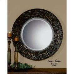 "Uttermost 11587B Alita, Mirror: Mirror features a metal frame with black woven metal details. Mirror has a generous 1 1/4"" bevel. http://keyhomefurnishings.com, Lake Oswego, Oregon."