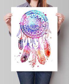 Dream Catcher Watercolor Print, Dream Catcher Art, Watercolor Art ...