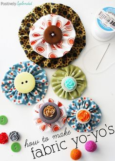 Fabric yo-yo's are a great way to use fabric scraps, and they can be used to add a pop of color to just about any project! Free templates with tutorial