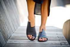 New! Black Leather Sandals, Handmade Sandals, Flat Sandals, Black Summer Shoes, Slide Sandals, Toe Ring Sandals, Simone