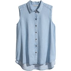H&M+ Sleeveless blouse ($11) ❤ liked on Polyvore featuring tops, shirts, blouses, tank tops, light blue, plus size, plus size shirts, h&m, sleeveless shirts and light blue top