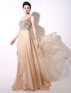 9edef696009e   139.99  Γραμμή Α Ένας Ώμος Μακρύ Σιφόν Επίσημο Βραδινό Φόρεμα με Χάντρες  με