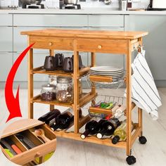 SoBuy FKW06-N, Kitchen Trolley with Shelves & Drawers,Hostess Trolley,Kitchen Island,72x 37 x 77.5cm,Bamboo SoBuy | $80+ SH - change casters