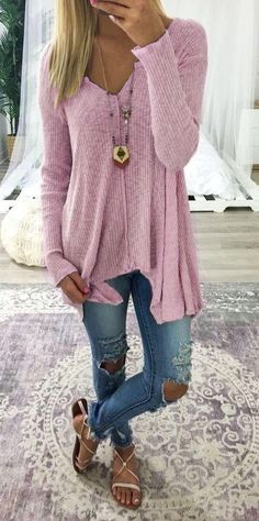 Women Fashion Long Sleeve V-neck Pure Color Sexy Loose Knitted Tops