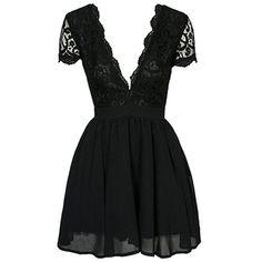 Black Lace Spliced Plunging Neck Skort Sleeve Dress (315 BRL) ❤ liked on Polyvore featuring dresses, short dresses, vestidos, lace dress, short sleeve cocktail dresses, skort dress and lace cocktail dress