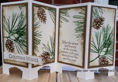 CHRISTMAS CARD KIT SET OF 4 HANDMADE STAMPIN  UP ORNAMENTAL PINE SCREEN DIVIDER