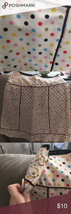 Pamela Brown polka dot retro a line skirt 6 Super cute skirt in happy spring colors! In good used condition with minor signs of wear. No stains or tears, just slight wear around zipper and a few runs in satin-y fabric that aren't noticeable. Pamela Brown Skirts A-Line or Full