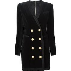 BALMAIN Double Breasted Velvet Dress ($2,977) ❤ liked on Polyvore featuring dresses, double breasted dress, form fitting black dress, long sleeve black dress, v neck short dress と short dresses