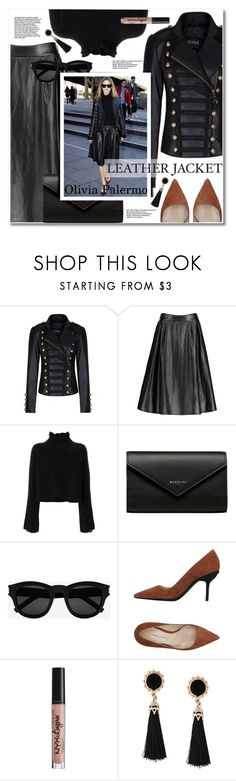 """""""Olivia Palermo -Get the look"""" by svijetlana ❤ liked on Polyvore featuring Golden Goose, Balenciaga, Yves Saint Laurent, Roberto Festa and NYX"""
