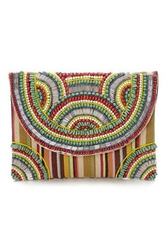 Tribal Beaded Clutch Bag