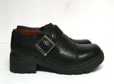 dd1e1afac7ed Harley Davidson Sarah Clogs Shoes Black Leather Buckle Women s 6 Lug Sole  83219