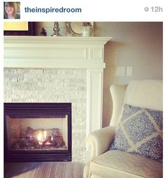 Love the stone fireplace surround.