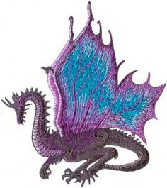 Dragon Purple Wings Embroidered Iron On Applique by CoolPatches, $5.99