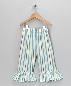 Take a look at this Blue & White Stripe Ruffle Pants - Infant, Toddler & Girls by Carolina Kids on #zulily today!