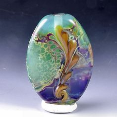 alexbeads Purple On Mint Green Lampwork Focal Bead (1) SRA