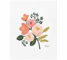 Draw Roses Rose Botanical by Rifle Paper Co. - It's always springtime any time of year with these colorful roses in a room. The artwork is reproduced on archival stock from a hand-painted gouache illustration created by Rifle Paper Co. Illustration Blume, Botanical Illustration, Botanical Prints, Digital Illustration, Fantasy Illustration, Art Floral, Motif Floral, Watercolor Flowers, Watercolor Art