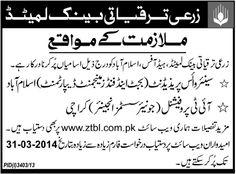 Zarai Taraqiati Bank Ltd Islamabad & Karachi Jobs