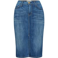 Current/Elliott High Waisted Denim Skirt - Waterfall and other apparel, accessories and trends. Browse and shop 8 related looks. High Waisted Denim Skirt, Blue Denim Skirt, Waist Skirt, Blue Pencil Skirts, Denim Pencil Skirt, Jean Skirt Outfits, Calf Length Skirts, Summer Skirts, Skirt Fashion