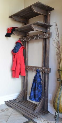 Building extra storage for your coats is easy with this free plan for a DIY hall tree coat rack.