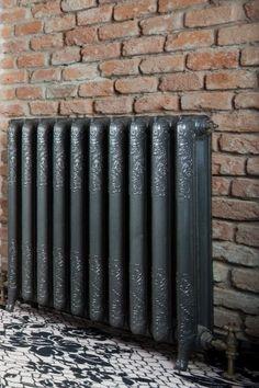 radiator House Furniture Design, Home Decor Furniture, House Design, Home Radiators, Cast Iron Radiators, Industrial Living, Industrial Shelving, Staircase Landing, Vertical Radiators