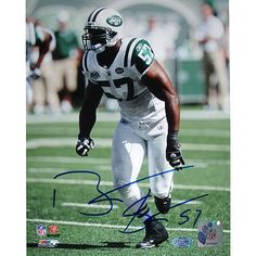 Bart Scott Arms at Sides Jets White Jersey Vertical 8x10 Photo - Bart Scott is the standout linebacker of the New York Jets. Scott was selected to the Pro Bowl in 2006 after recording 135 tackles 9.5 sacks and 2 interceptions. Scott has been a big part of the New York Jets rejuvenated and top ranked defense and looks to help lead the team back to the Super Bowl in 2010 and beyond. Bart Scott has hand signed this New York Jets 8x10 photograph. A Steiner Sports Certificate of Authenticity is…