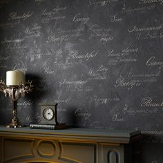 Concrete Script Wallpaper in Charcoal design by Graham & Brown | BURKE DECOR