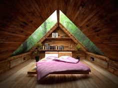 Habitación en la buhardilla Amusing small attic bed room idea with ceiling design idea plus glass roof also pink bed for wooden floor