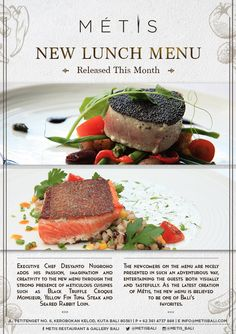 #Metis #New #lunch #menu  Come and #taste it first... #food #cuisine #fine #delicate #Metis #guide #bali #balithisweek New Menu, Lunch Menu, Executive Chef, Bali, Delicate, Events, Food, Kitchens, Happenings
