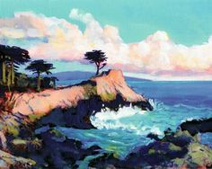 The Monterey peninsula. Lone Cypress Tree along The Seventeen Mile Drive in Pebble Beach Carmel California, acrylic painting by RD Riccoboni one of America's favorite cultural heritage artists. From the Beacon Artworks collection Beacon Artworks Gallery RD Riccoboni Studio Old Town San Diego State Historic Park San Diego, California.