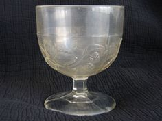 Early American Patterned Glas Goblet: Raspberry Festoon side view F   might be gooseberry, not sure