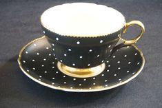 RARE BLACK SHELLEY w WHITE POLKA DOTS TEA CUP & SAUCER FULL GOLD TRIM #Shelley Tea Cup Saucer, Tea Cups, Cuppa Tea, Teapots And Cups, My Cup Of Tea, Tea Service, Coffee Set, Tea Accessories, China Dinnerware