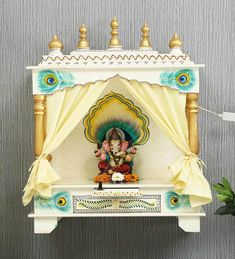 Wooden Temple For Home, Home Temple, Mandir Design, Pooja Mandir, Pooja Room Door Design, Puja Room, Wooden Art, Teak Wood, Wall Mount