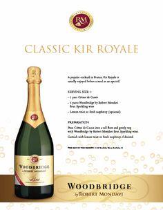Classic Kir Royale featuring Woodbridge Brut Sparkling Wine.
