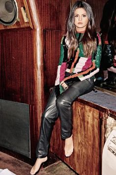 Selena Gomez wearing Louis Vuitton Fall 2015 Leather Pants and Louis Vuitton Resort 2016 Color Block Sequin Top