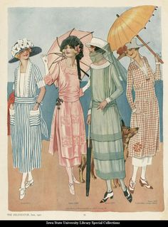 Day dresses, 1921 United States, the Delineator. That blue and white one, yum! 20s Fashion, Edwardian Fashion, Art Deco Fashion, Fashion History, Retro Fashion, Vintage Fashion, 1918 Fashion, Flapper Fashion, French Fashion