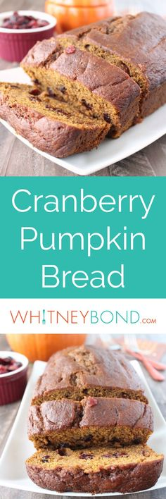 Cranberries add a delicious twist to this traditional pumpkin bread recipe, perfect for breakfast in the fall and winter months!