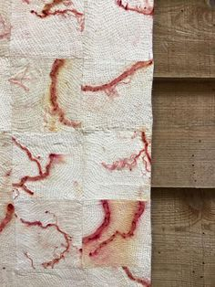 Caroline Bell's gorgeous stitching and madder root prints at From the Earth Textiles Exhibition, UK